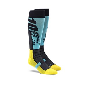 100% HI SIDE Performance Moto Socks, ADULT, L XL, CYAN