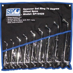 SP Tools 9pc Metric 75° Offset Ring Spanner/Wrench Set