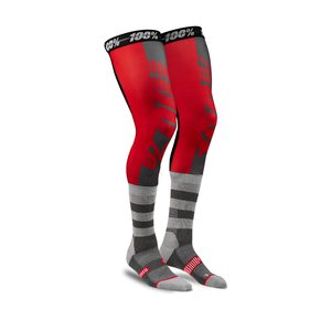 100% REV Knee Brace Performance Moto Socks, ADULT, L XL, BLACK