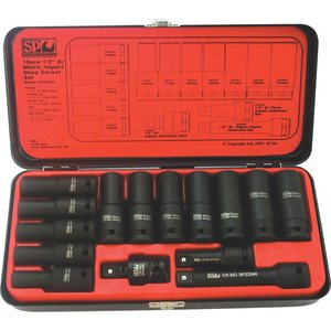 SP Tools SOCKET SET IMPACT 1/2DR DEEP 6PT 15PC METRIC